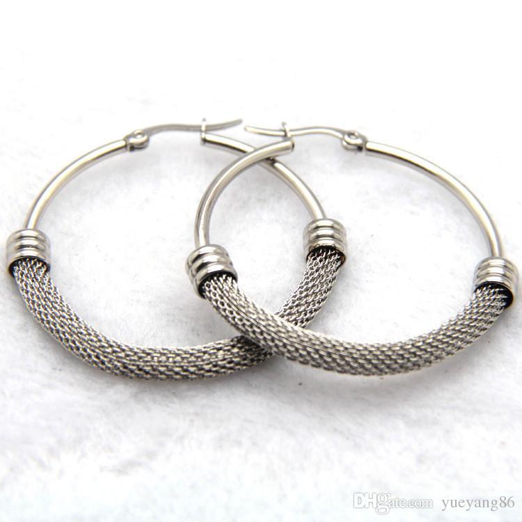 Никогда не исчезают прекрасный стиль подарок для женщин GoldSilver хирургические нержавеющей стали твист проволока круглый обруч мотаться серьги новый