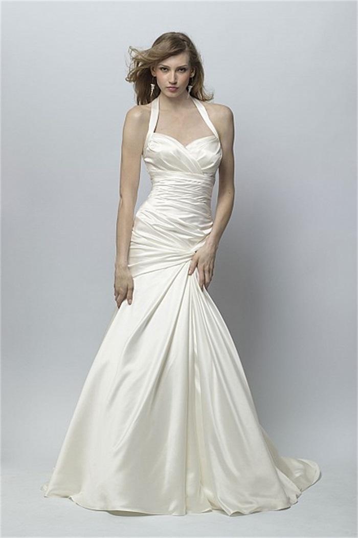 New Design Halter Neck Sweetheart Mermaid Wedding Dress Taffeta ...