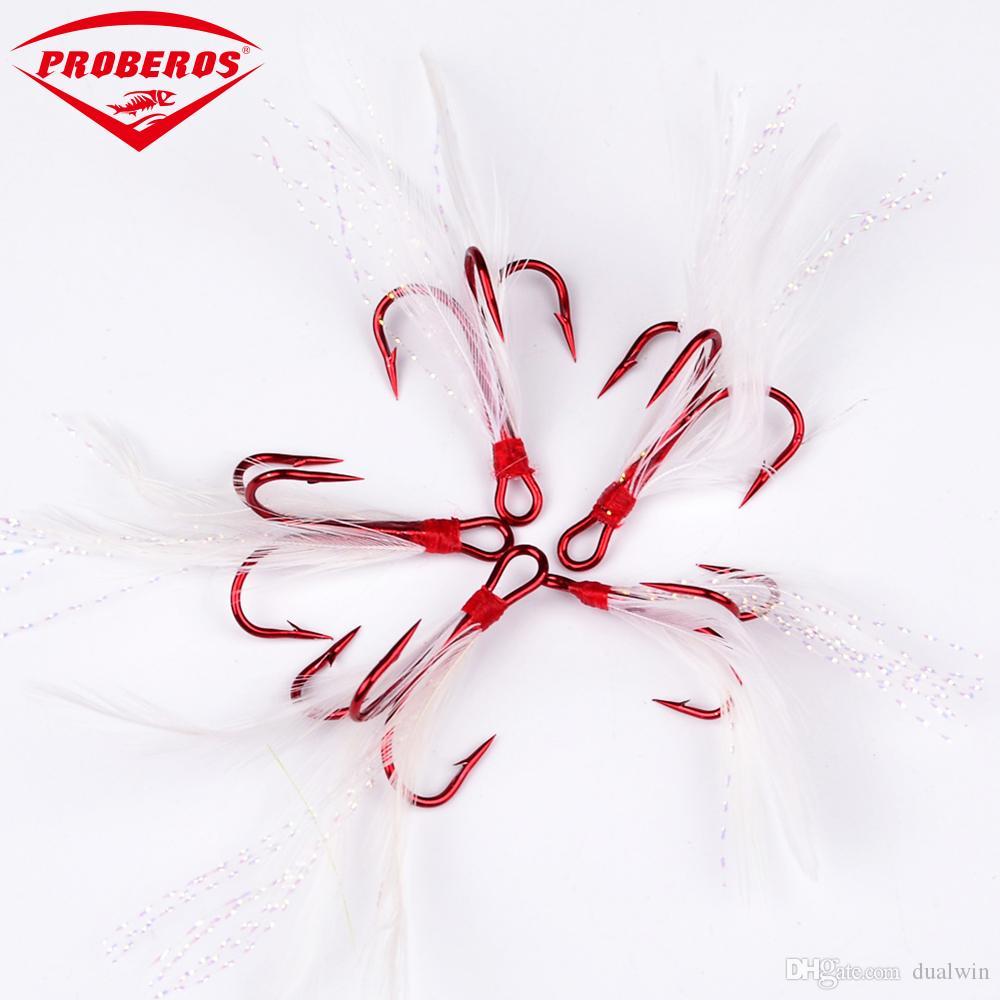 amo da pesca colore rosso con gancio da pesca piuma 2 # / 4 # / 6 # / 8 # 10 # acciaio ad alto tenore di carbonio ami acuminati attrezzatura da pesca