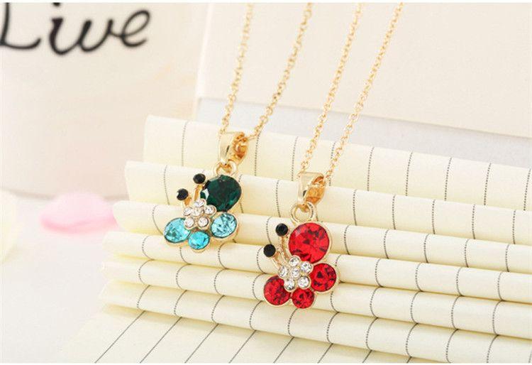 Beautiful Flash diamond crystal butterfly pendant necklace CZ Diamond Pendant Necklaces Long Chain for Women Jewelry
