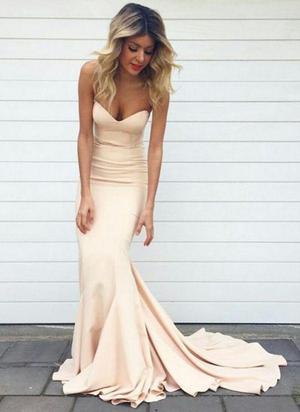 Simple Sweetheart Sheath Mermaid Prom Dresses Nude Sleeveless Court ...