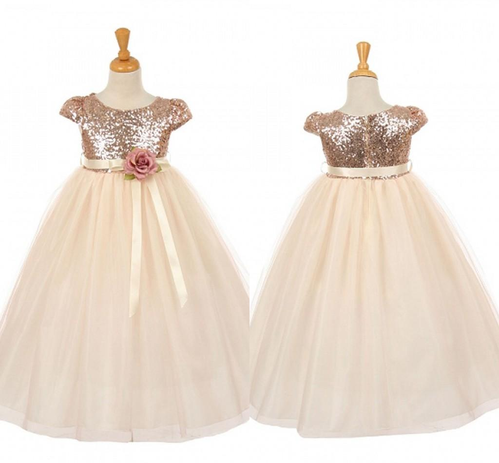 2018 Sequin Girls Pageant Dresses Rose God Cap Sleeve Ball Gown
