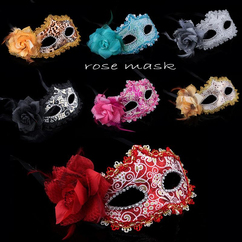 Luxury Sexy makeup Party masks masquerade mask Rose flower Mask for women lady half face mask toys Festive Halloween Valentine dance 110010
