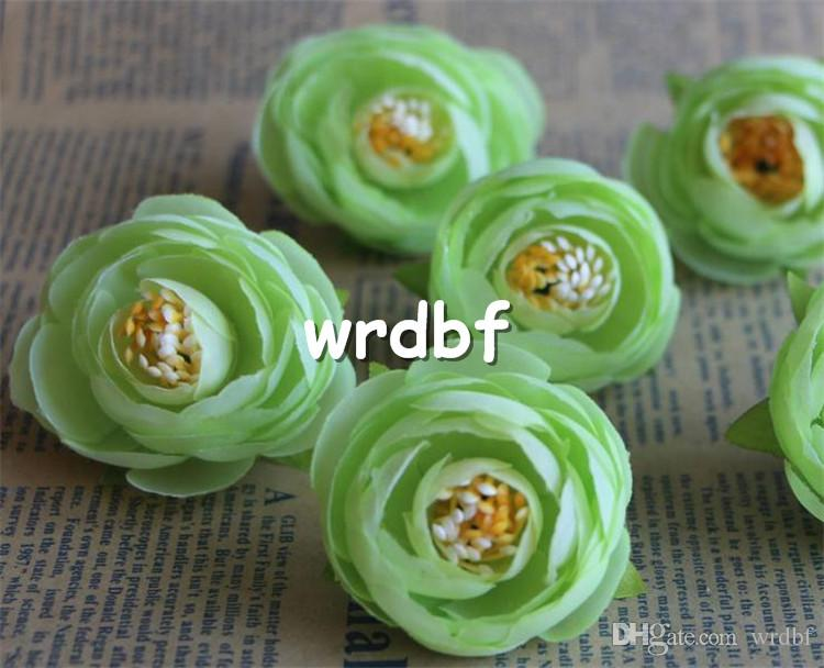HOT Silk Camellia Flower Head Dia. 4cm Artificial Flowers Tea Rose Rosebud for DIY Bridal Bouquet Headdress Accessories Available