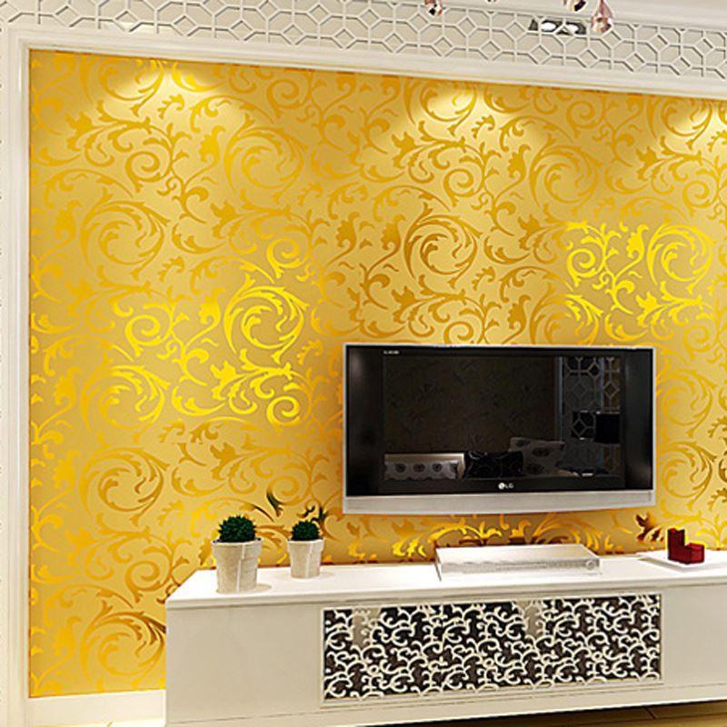 Golden Silver Pvc D Embossed Tv Background Wallpaper Mural Wall - Golden living room
