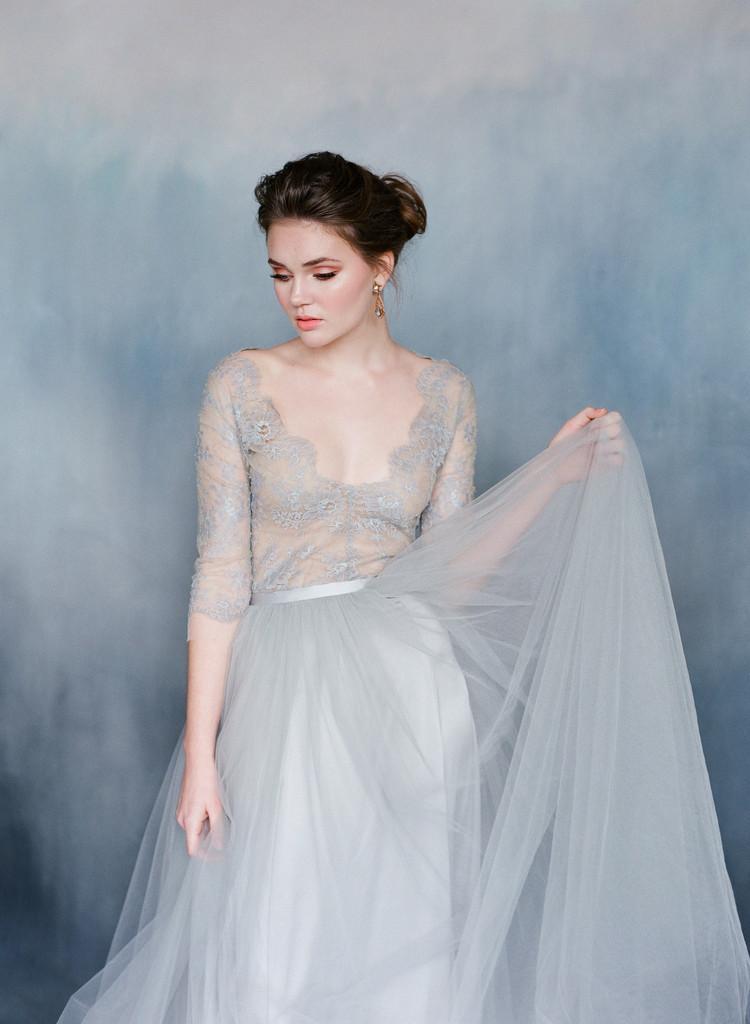 Discount Emily Riggs Wedding Dressess Blue V Neck Sheer Long Sleeves ...