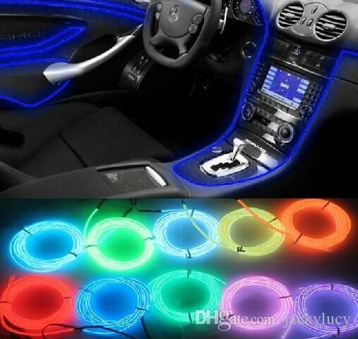 Car Accessories Interior Flexible Neon Light Atmosphere Lamp El Glow Wire Rope With Cigarette