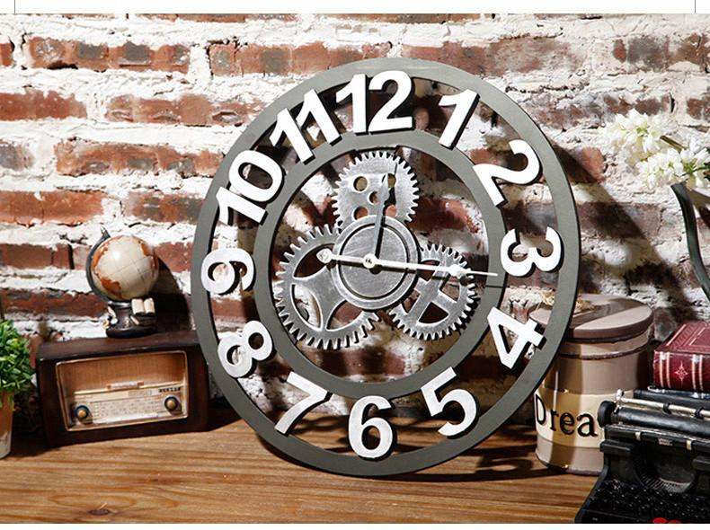 LOFT Industrial Gear Watches Retro Style Wall Clock Creative Home