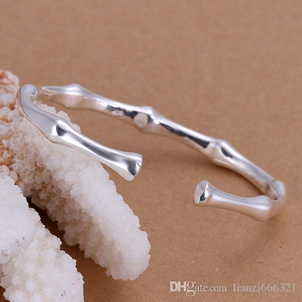 10 قطعة / الوحدة الساخن هدية سعر المصنع بالجملة جديد 925 الفضة الاسترليني سوار الخيزران سوار المجوهرات 1293