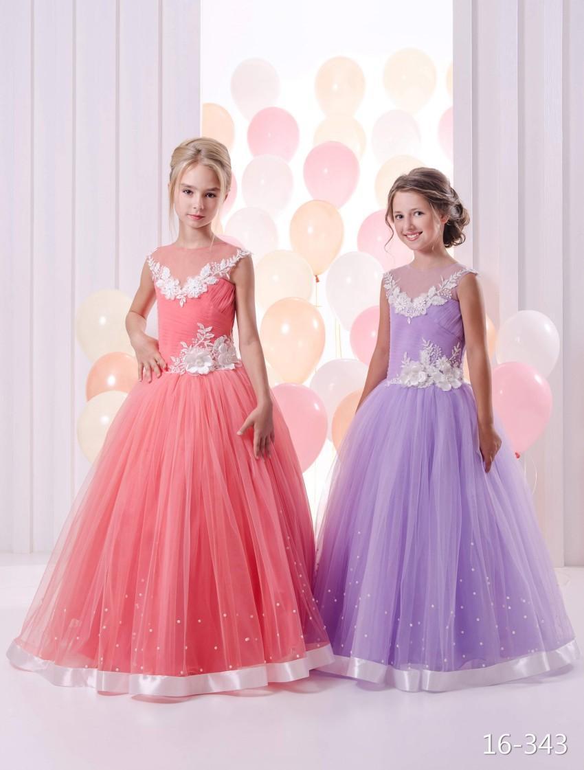 Compre 2016 Perlas Encaje Sheer Cuello Colorido Flower Girl Dresses ...