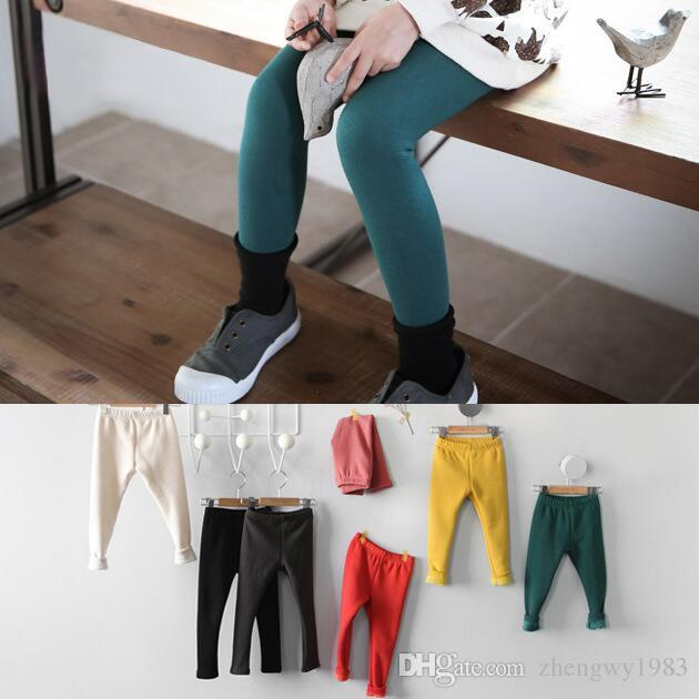 72a79fa44 Winter Girls Leggings Kids Solid Warm Pants Children Kids Thick ...