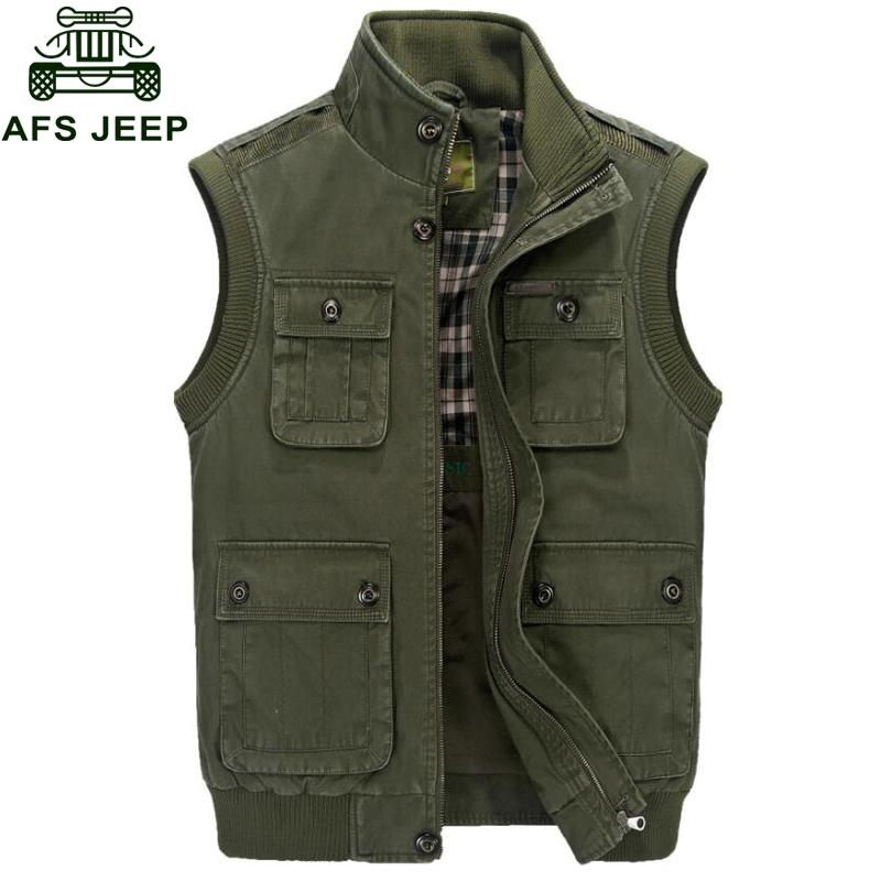 Hot Afs Jeep 2019 Autumn Vest Men Army Waistcoat Cotton Sleeveless Jacket Casual Vest With Many Pockets Tactical Vest free shipping