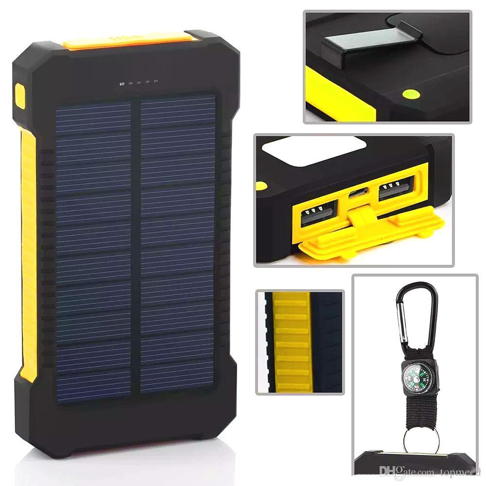 아이폰 8 태양 전원 은행 듀얼 USB 전원 은행 20000mAh 외부 배터리 휴대용 충전기 Bateria externa 팩 휴대 전화