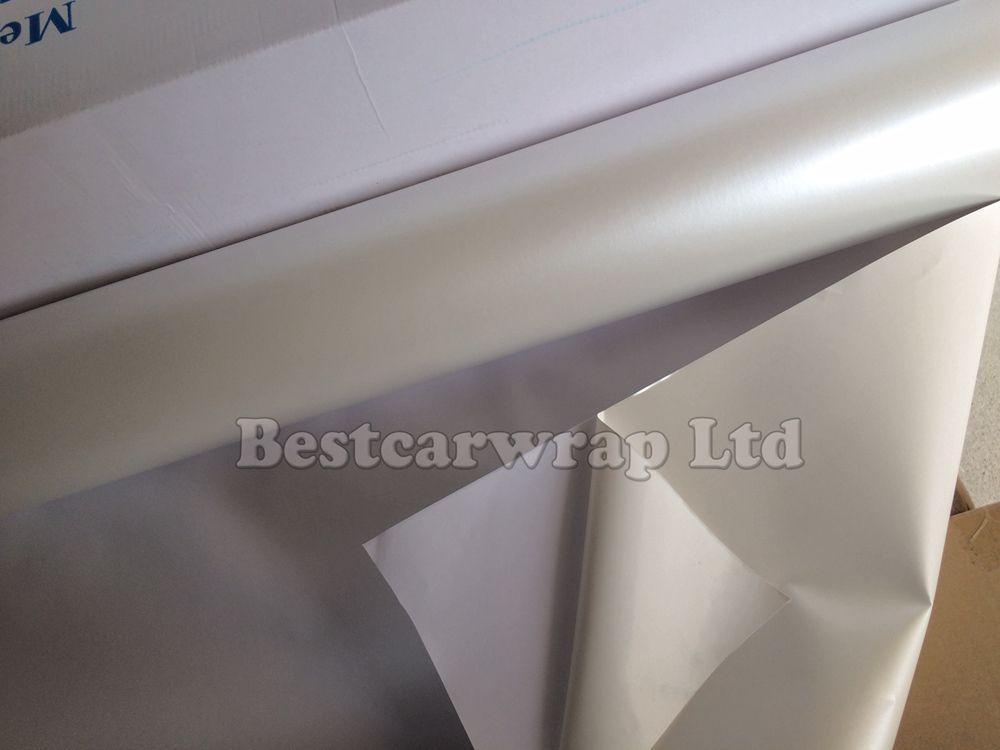 Pearl Glossy White Vinyl för bilförpackning Fooilen Film med bubbla Free 1.52X20m / Roll Fri frakt