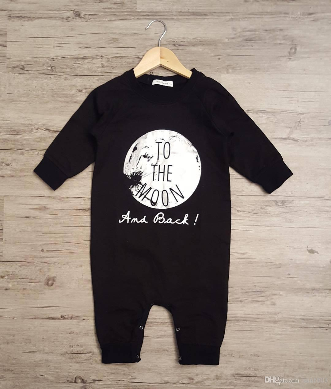 Новый ребенок с длинным рукавом хлопок Письмо печати не спать на Луну Детская одежда Детские цельный комбинезон Детская одежда мальчиков комбинезон Комбинезон
