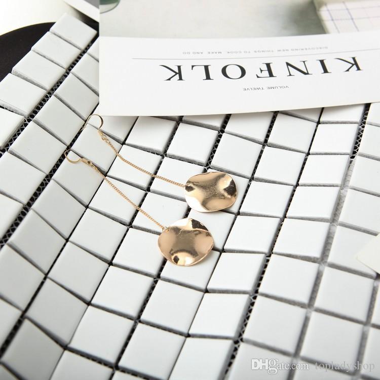 Abartılı basit metal düzensiz düzensiz dışbükey yuvarlak küpe küpe toptan ücretsiz kargo