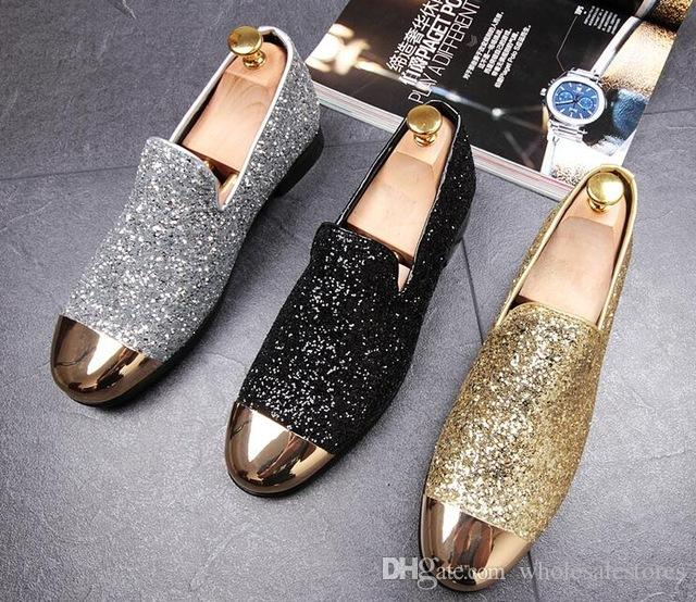 1242f8a57 New Luxury Trendsetter Gold Silver Shine Sheet Metal Flats Shoes Male  Wedding Homecoming Prom Pageant Business Oxford Shoes Mens Shoes Online  Mens Dress ...