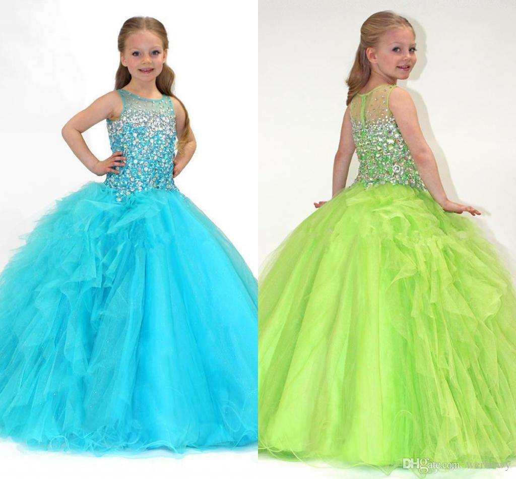 2018 Lime Green Ball Gown Bateau Sheer Crystals Girl\'S Pageant ...