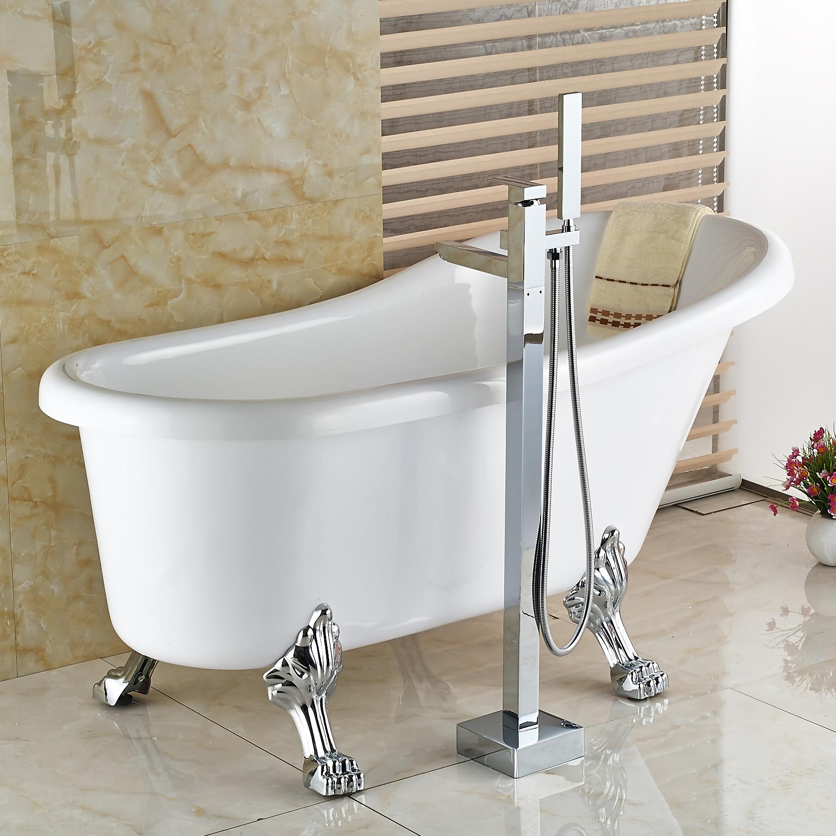 2018 Wholesale And Retail New Chrome Floor Mount Bath Tub Filler ...