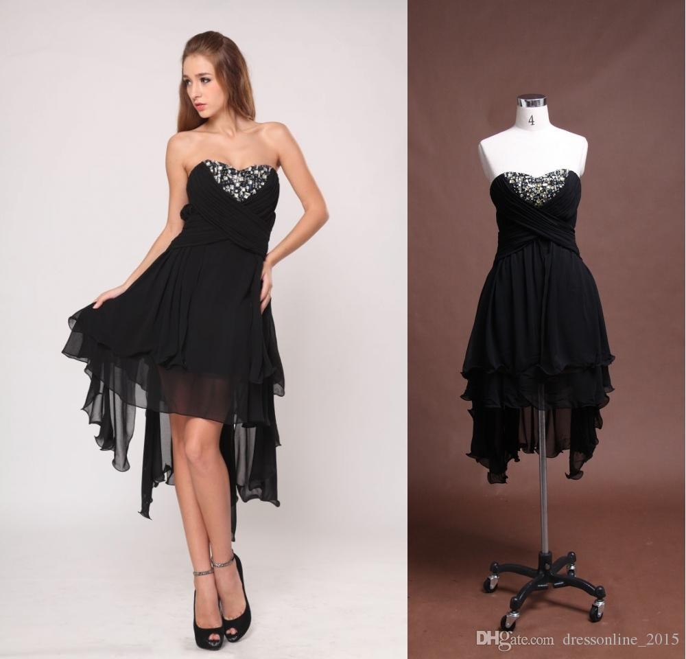 2015 Sexy Black Crystal Short Party Dresses Bateau Sleeveless Knee ...