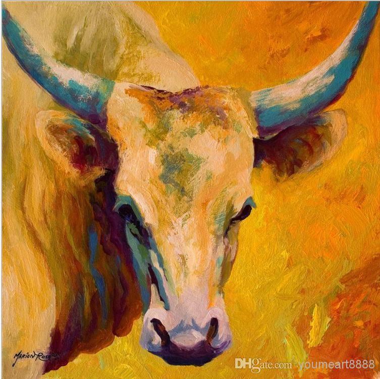 Animal Oil Painting Creamy Texan - Longhorn Running Horse Modern ...