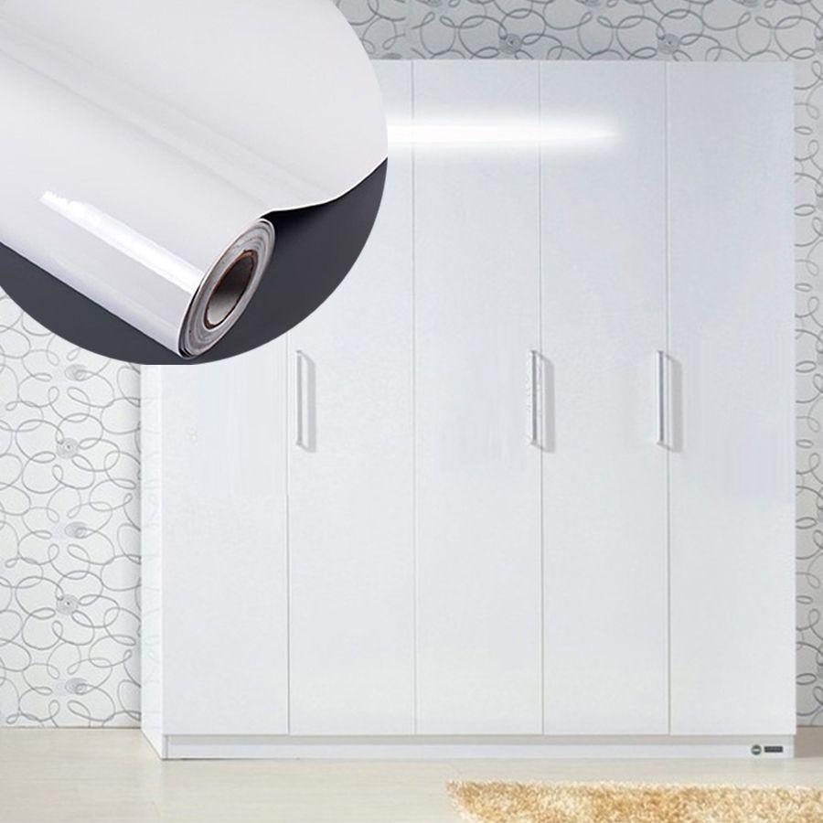 High Glossy White Diy Decorative Film Self Adhesive Wallpaper Furniture Renovation Stickers Kitchen Cabinet Waterproof Celebrity