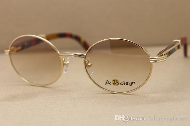 뜨거운 7550178 원래 공작 나무 선글라스 골드 나무 안경 프레임 안경 남자 유명한 C 장식 운전 안경 크기 : 55-22-135mm