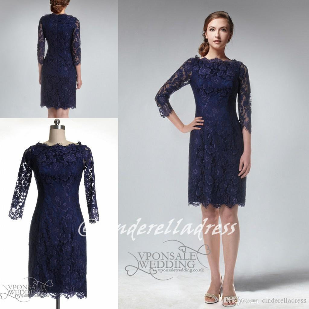 2015 navy blue beteau sheath knee length lace bridesmaid dresses 2015 navy blue beteau sheath knee length lace bridesmaid dresses with half sleeves zipper fashion mother of the bride dresses cocktail gowns find mother of ombrellifo Image collections