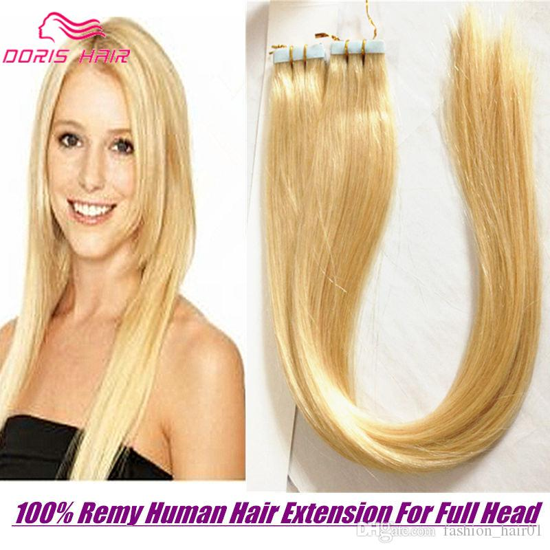 Blonde Pu Tape In Human Hair Extensions Full Head Remy Human Hair
