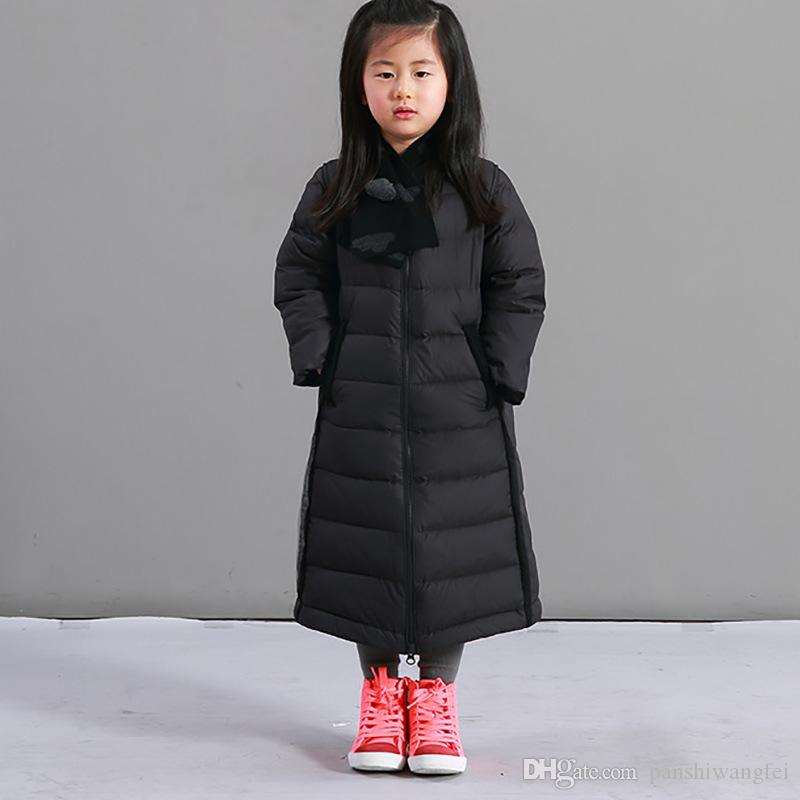 Fashion Winter Girl Long White Duck Down Down Jacket Child Thicken ...