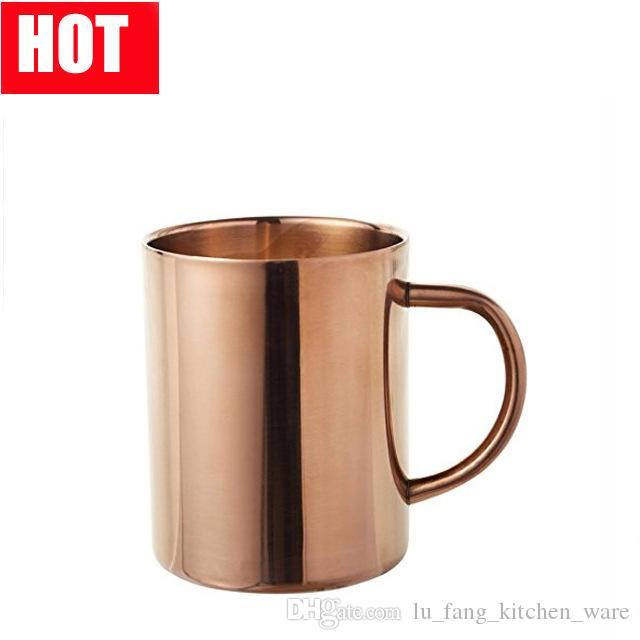 stainless steel Light Copper Mug donkey Moscow Mule Mug Hammered Copper Drinkware Smooth Mugs Big belly Beer glass client Customizable logo