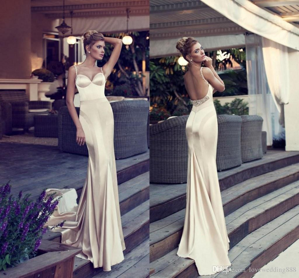 Glamorous Champagne Prom Dresses Mermaid Style Spaghetti Straps Backless Court Train Beads Elastic Satin Long Evening Gowns Nurit Hen