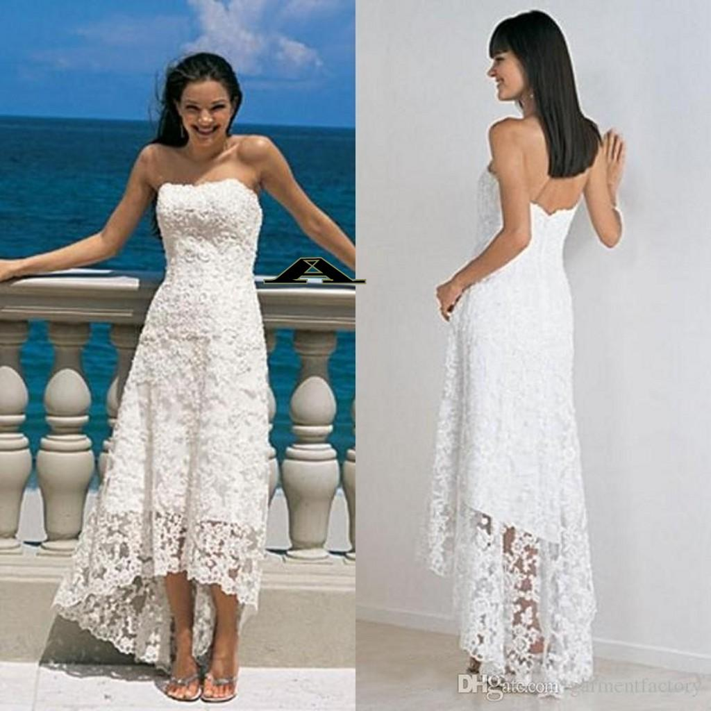 Discount Vintage Hi Lo Wedding Dress Lace Strapless A Line Short Front Long Back Ivory Beach Gowns Cheap Dresses