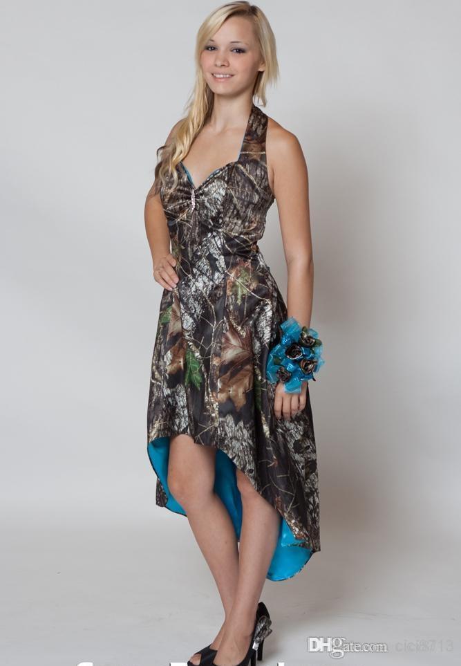 In Stock Mossy Oak Camo Bridesmaid Dresses Custom Made Strapless Hi-lo Short Camo Wedding Party Dress Camo And Blue