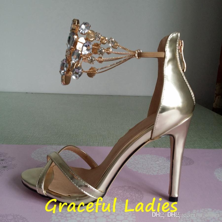 2016 Kristal Düğün Ayakkabı Gerçek Görüntü Altın Gelin Ayakkabıları Taklidi Artı Boyutu Ucuz Gelin Aksesuarları Zincir Yüksek Topuklu Ince ...