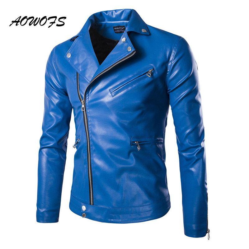 2018 Wholesale Aowofs Fashion Mens Leather Jackets Blue/Black Slim ...