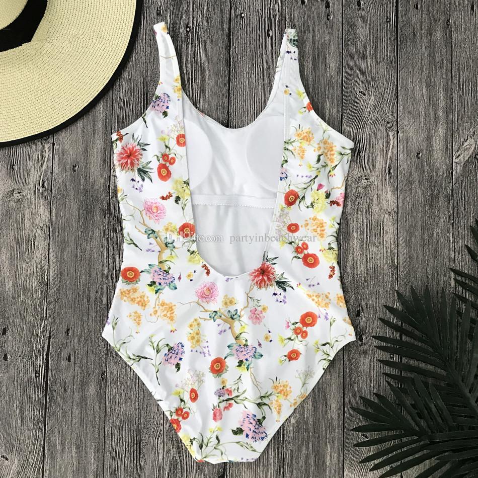 Sexy One Piece Swimsuit Hollow Out Tropical Leaf print Swimwear bikinis Women Monokini Bodysuit Bandage Brazilian Bathing Suit Beach Wear