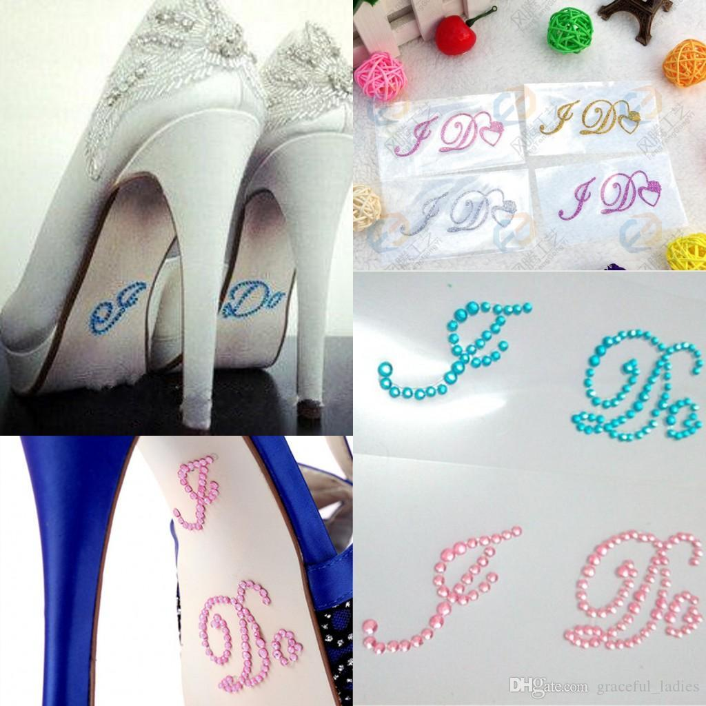 Silver Crystal Wedding Shoe Stickers I Do & Me Too Bridal