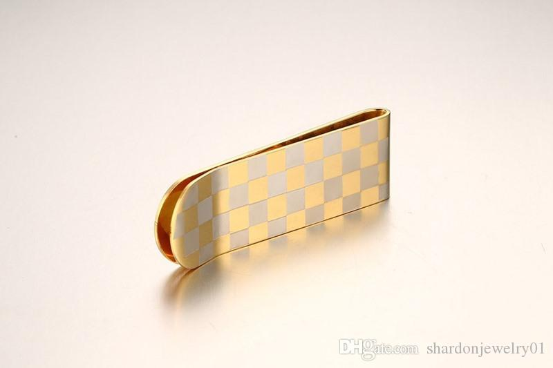 Shardon 53MM high polished stainless steel grid design money clip with gold plated as gift for men