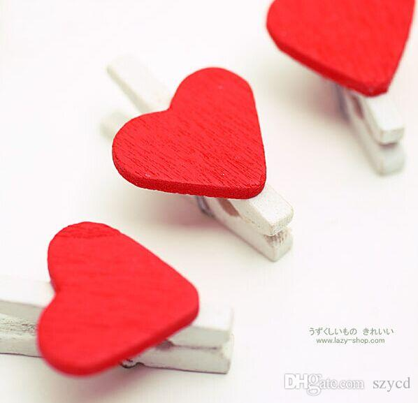 /bag, Mini Wooden Red Heart Pegs Wedding Table Place Card Holders Craft Love, 3x2cm