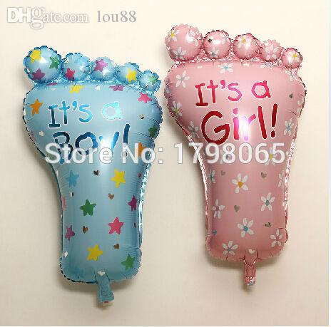 Wholesale-large 10pcs/lot feet foot helium balloon it is a boy girl birthday party decoration baby shower mylar foil ballon