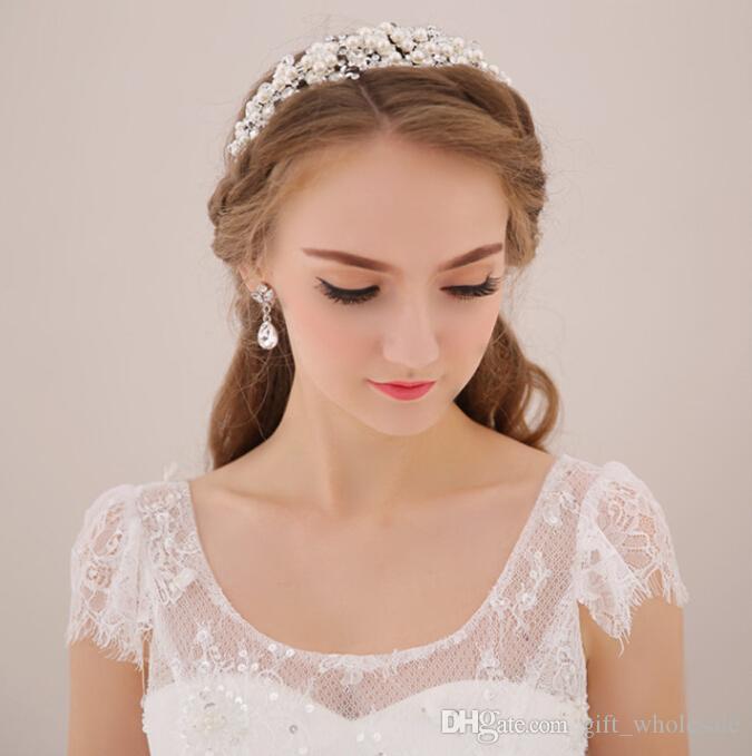 Vintage Wedding Bridal Crystal Rhinestone Pearls Hair Accessories Flowers Pieces Pins Headband Beaded Princess Tiara Jewelry Suppliers