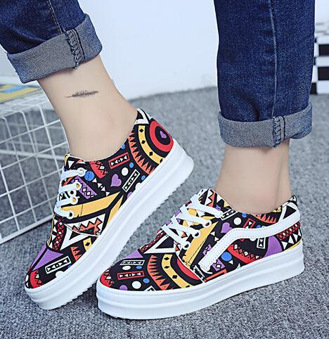 719fa60d2ded Korean Style Board Shoes Women Fashion Printed Canvas Shoes For Women  Leisure Joker Single Shoes Womens Lace Up Sneakers Woman H330 White  Mountain Shoes ...