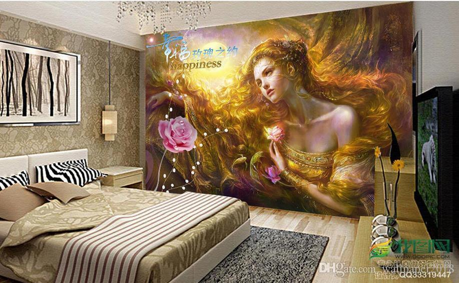 Chinese painting life tree sun landscape painting 3d wallpapers bathroom