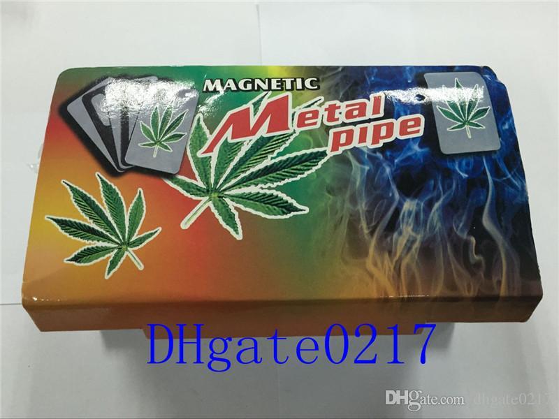 Hohe Qualität Kreditkarte Rauchen Metallrohre für das Rauchen Klicken Sie auf Fun Metal Magnetic Fit in Brieftasche Silber Glasrohre versandkostenfrei