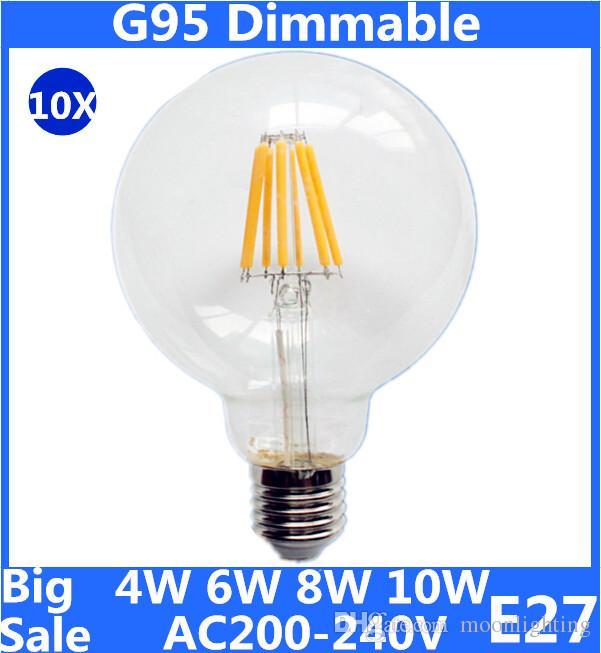 best big sale g95 e27 b22 led bulb 4w 6w 8w 10w dimmable filament bulbs ac220v led filament light edison lamps decor light bar home led bulb 3 way led