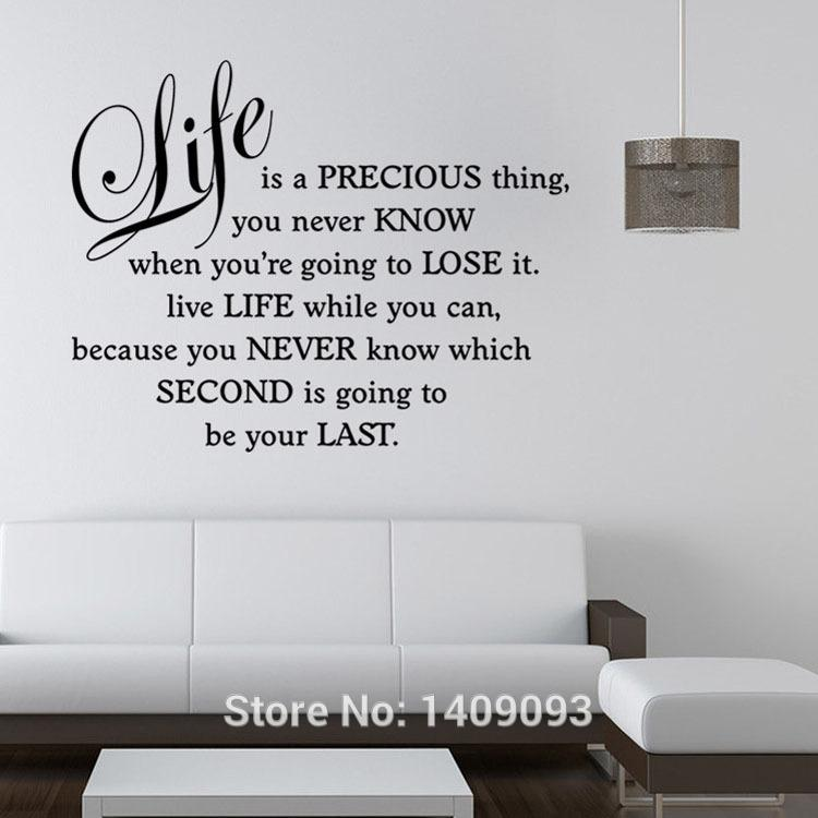 Living Room Sayings wall stickers quotes and sayings life is a precious thing bedroom