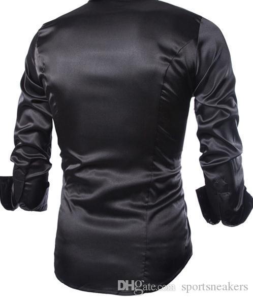 2016 moda primavera homem camisas de vestido dos homens slim fit camisas de seda longa camisas brilhantes para homens
