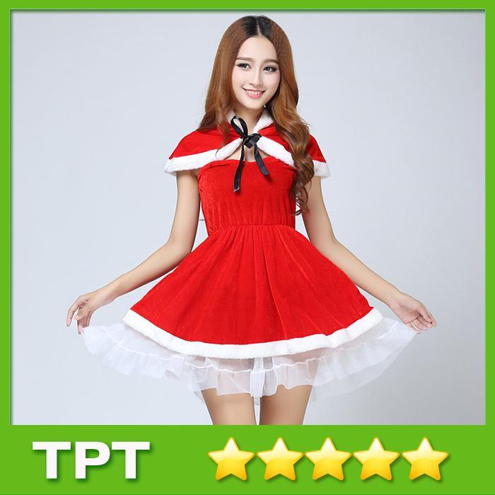 Großhandel Sexy Weihnachtskleid Trägerlosen Gaze Saum Short Red ...