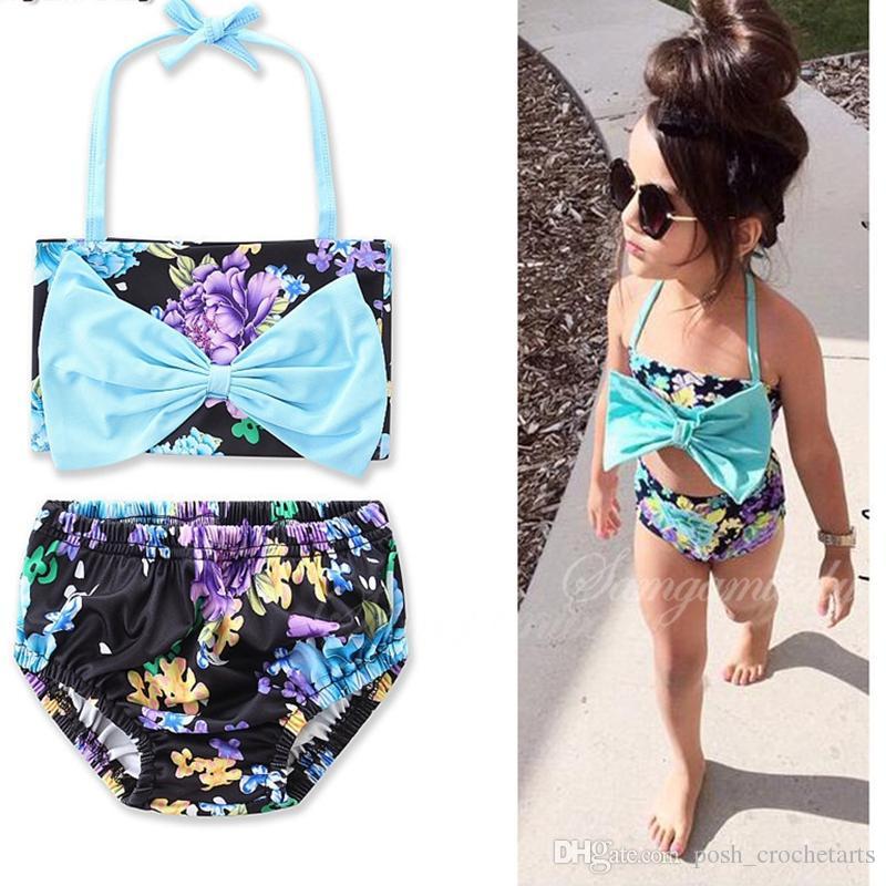 9d9629c1a146 Sassy Girls Bikinis Floral 2 piezas Ropa de playa Vacaciones de verano  Niños Trajes de baño de cintura alta IG Trendy Baby Girls Swim Clothes  Trajes ...